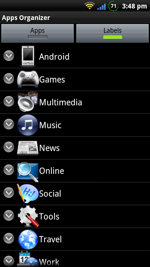 Arrange your Android apps with labels