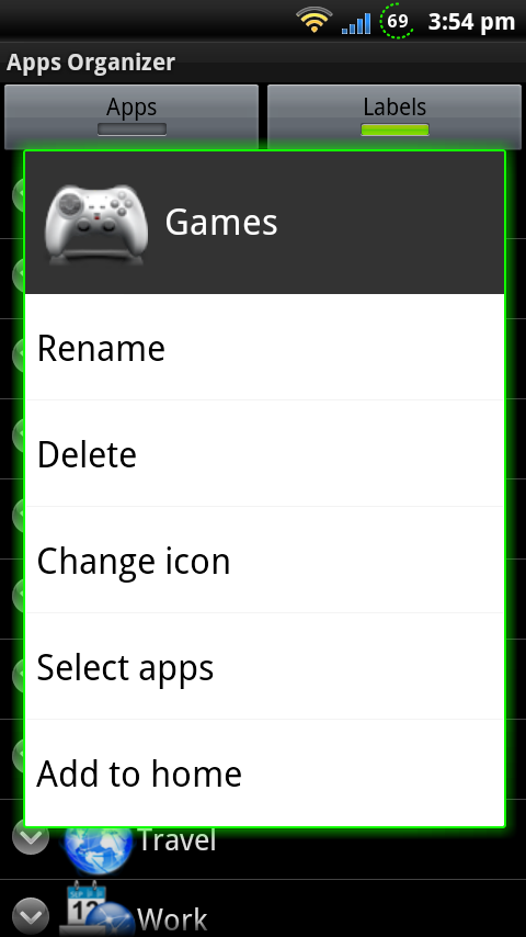 Organize your apps in labels