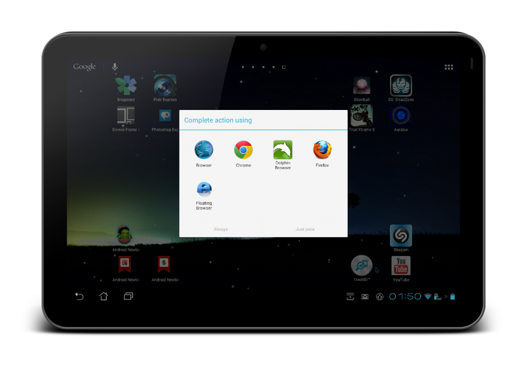 Using Android tablet as PC-Browsers
