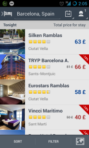 Expedia - hotels list